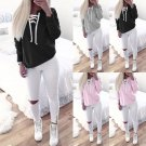 Women Strappy Lace Up Sweatshirt Plain Hoodie Hoody Sweater Jumper Pullover Coat