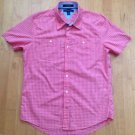 Tommy Hilfiger Men's Checkered Red/White City Poplin Slim Fit Shirt Size Medium