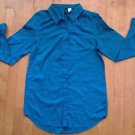 Divided by H&M Women's Turquoise Collared  Button Down Long Shirt Size 2