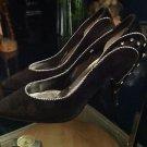 Jasmin Vintage Women's Heels size 6 Black Suede With Silver Design / Rhinestone
