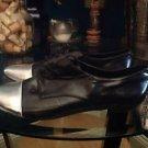 Aldo Women's Black leather  Oxford Dancing Shoe Size 38/ 7.5  Black/  Silver