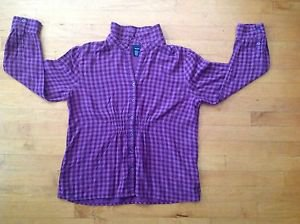 Basic Edition Women's Purple and Black Checkered Blouse  Size Large