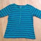Old Navy Women's Green Striped Long Sleeve Shirt Size Medium
