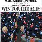 New England Patriots 2/6/2017 Boston Globe Paper Patriots Win Super Bowl