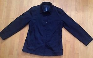 Gap Women's Black Polyester All Weather Sports Coat Size Medium Button Up