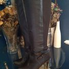 Nine West Women's Maravillao Black Leather/ Canvas Tall Boots Size 7.5 Model