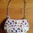 Butterfly /Floral Print Purse Clutch Women's Handbag Hobo Bag Metal Strap 10 X6