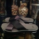 UGG Women's Kari Sandals/Flip Flops Size 11 Black/Gray Leather Model #1012200W