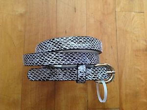 Women's Narrow Snake Skin Black/white Belt w/Gold Buckle Size Medium- Large  40""