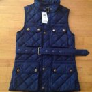 Polo Ralph Lauren Women's Down Diamond Quilted Navy Blue Belted Vest  Small