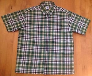GAP Men's Plaid Short Sleeve Button Up Collard Multi-Color Shirt Size Large