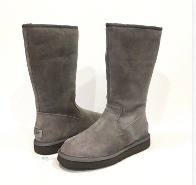 UGG Australia Women's ALBER SUEDE GRAY Boots SHEARLING LINED Size 6 NIB 1016592W