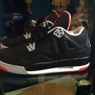 Air Jordan 4 Retro 2012 Black/ Cement Grey- Fire Red  Size 6.5 Model 408452 089