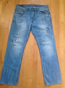AMERICAN EAGLE OUTFITTERS ORIGINAL STRAIGHT JEANS 34 X 33 LIGHT DISTRESSED