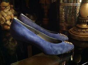 Aldo Rossini Collection Women's Vintage Blue Suede Pumps size 6M  Model 16115440