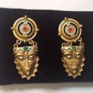 Native Mask Gold Tone Earrings  Clip On's  with Colored Rhinestone New