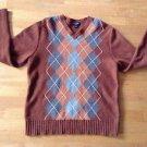 Banana Republic Argyle V- Neck Sweater Size Medium 100% Lamb Wool Rust Orange