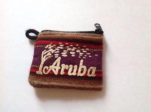 Aruba Handmade Native Coin Purse/ Canvas Wallet/ Change Holder/ Zippered 4X3