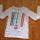 Old Navy Girls Long Sleeve White Graphic T- Shirt Size Large  with Hello Design