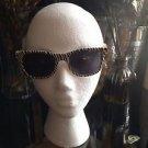 Zebra Colored Black & White  Striped Sun Glasses Oval Shaped  Black Lenses