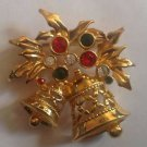 AVON  Holly berries Christmas gold tone red green enamel pin   BROOCH