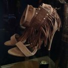 Liliana Patina Taupe Suede Fringe Size 9 Open Toe  Brown Stiletto Sandal