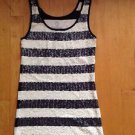 Old Navy Blue / White  Sequin Striped Tank Top, Sleeveless Shirt  Size Small