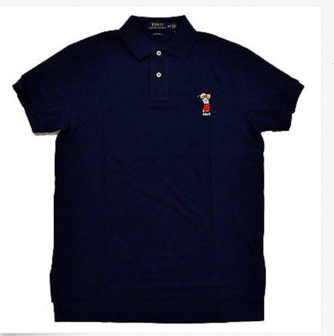 Polo Ralph Lauren Navy GOLF BEAR LOGO CUSTOM FIT MESH Short Sleeve Polo NWT