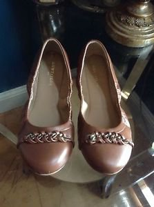 Ann Taylor Chain Detail Flats Size 6 Dark Chocolate Style 368987