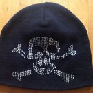 Rhinestone Black Skull Beanie Winter Hat with Bling One Size 100% Acrylic