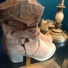 Simply Petals Suede Cowboy Boots Size 4 Tan
