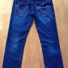 True Religion Mens Jeans Size 34 Dark Wash with Tan Stitching