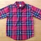 Gymboree Boys Slim Fit Long Sleeve Plaid Shirt Size Medium /7-8 Red Multi Color