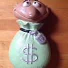 Ceramic Burglar  Piggy Bank Coin Bank 11 X 6.5