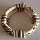 Ceramic/Arylic Ethnic Beaded Bracelet White/Gray Shades Beaded Elastic Stretch