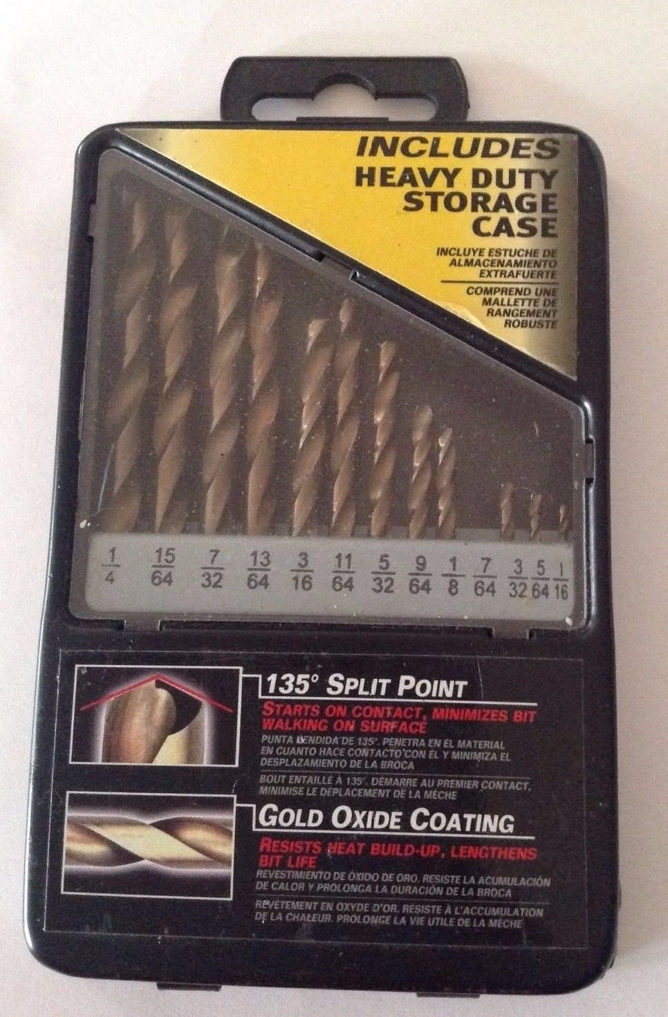 135 Degree Split Point Gold Oxide Coating 12 Piece Set,  includes Case