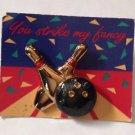 Avon Bowling Ball & Pins You strike My Fancy Pin Brooch Gold Tone Jewelry