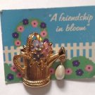 Vintage Avon Gold Tone A Friendship in Bloom Flower Pin Watering Can Pearl 1992