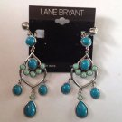 Lane Bryant Turquoise /Green Chandelier Clip On Earnings with Silver Trim #d787