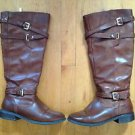 Guess Brown Leather Riding Boots Size 6.5 Model GFHilary 15 Inches w/ Zip Fasten