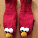 Elmo Sesame Street Wool Knit Mittens / Winter Gloves Red Fleece Lined By Delux