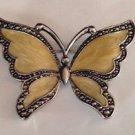 Vintage Yellow/Tan & Silver Enamel Coat Jacket Dress Blouse Butterfly Pin Brooch