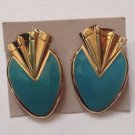 Vintage Turquoise Art Deco Style Gold Tone Trim Faux  Stone Clip On Earrings