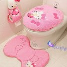 4PCS/SET Hello Kitty Bathroom Set Toilet Cover Wc Seat Cover Bath Mat