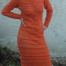 Handmade Crochet Cotton/Viscose Vintage Orange Dress size L
