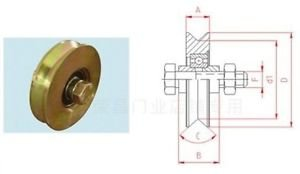 """2 Pk 3"""" Steel V Track Groove Gate Wheel w/ Bolt Single Pulley Bearing Gold Color"""
