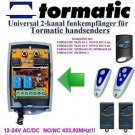 Tormatic MAX43-2/4 MCHS43-2 Compatible 2-channel Receiver 12-24V AC/DC 433.92MHz