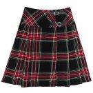 Black Stewart Tartan Premium Quality Kilts Highland Wear Ladies Billie Skirts Size 44