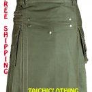 Free Shipping Custom size Olive Green Front Button Kilt 100% Olive Green Cotton Kilt