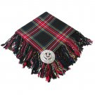 Traditional Black Stewart Tartan Fly Plaid Highland Scottish Kilts Flashes Garters